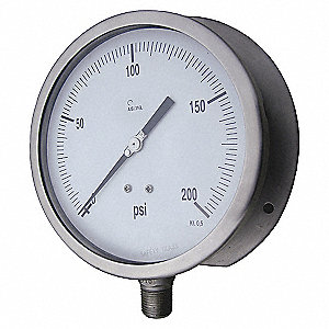 PRESSURE GAUGE,PROCESS,6 IN,160 PSI