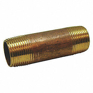 NIPPLE,RED BRASS,1 1/4 X 4 IN,THREA