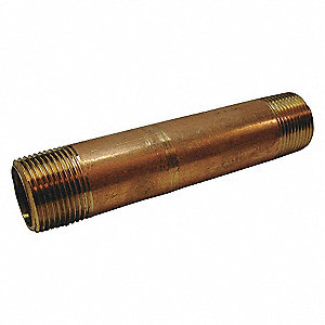 NIPPLE,RED BRASS,3/8 X 6 IN,THREADE