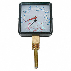 BOILER GAUGE,SQUARE,0-75 PSI,60 TO