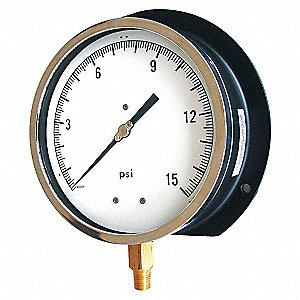 PRESSURE GAUGE,PROCESS,6 IN,100 PSI