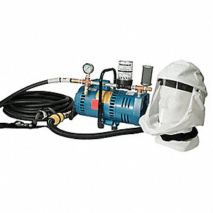 Supplied Air Pump Package, 3/4 HP, People Served: 1, Headgear Included: Hood