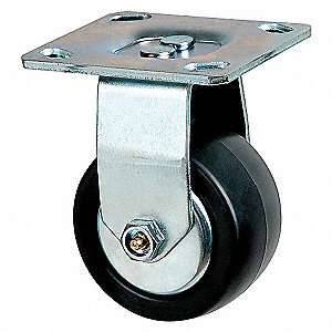 RIGID PLATE CASTER,600 LB,4 IN DIA