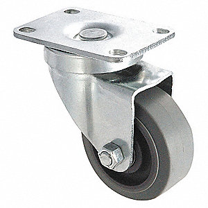 SWIVEL PLATE CASTER,200 LB,3 IN DIA