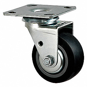 SWIVEL PLATE CASTER,300 LB,4 IN DIA