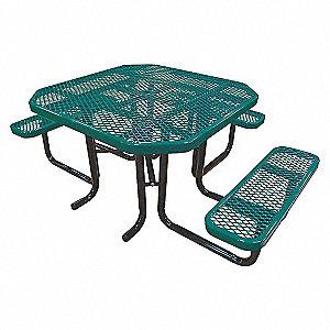 PICNIC TABLE, 80IN X 62-1/2IN GREEN