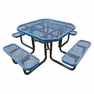 PICNIC TABLE, 80IN X 80IN, BLUE