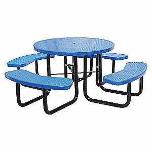PICNIC TABLE, 81IN DIA, BLUE