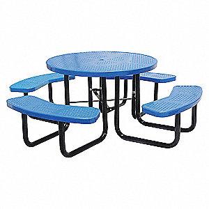 PICNIC TABLE, 81IN DIA, BLUE