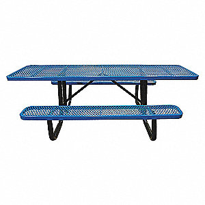 PICNIC TABLE, 96IN X 62IN, BLUE