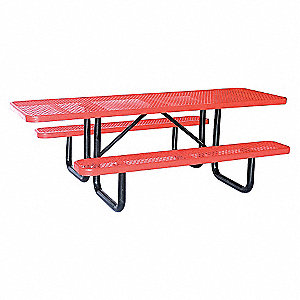PICNIC TABLE, 96IN X 62IN, RED