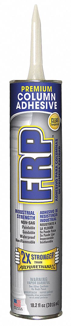 Clear FRP Adhesive,  10.2 oz,  Cartridge,  HVAC and Electrical