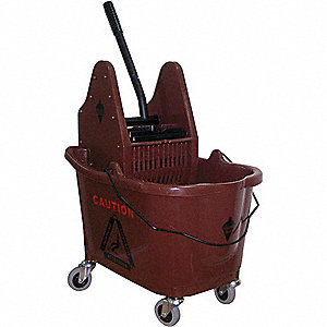 MOP BUCKET AND WRINGER,BROWN,DOWN P