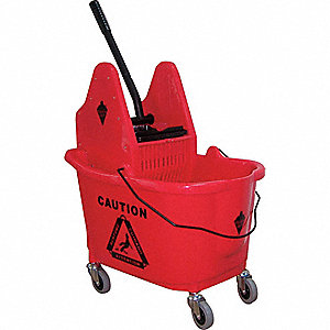 MOP BUCKET AND WRINGER,RED,DOWN PRE