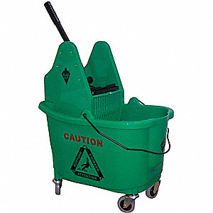 MOP BUCKET AND WRINGER,GREEN,DOWN P