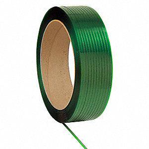 9000 ft. Plastic Strapping with Waxed Finish, Green; Break Strength: 600 lb.