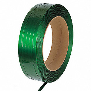 2200 ft. Plastic Strapping with Waxed Finish, Green; Break Strength: 2500 lb.