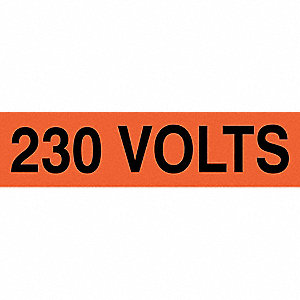 "Conduit and Voltage Markers, Markers per Card: 1, 9"" x 2-1/4"", 230 Volts Legend"