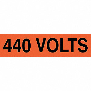 "Conduit and Voltage Markers, Markers per Card: 1, 9"" x 2-1/4"", 440 Volts Legend"