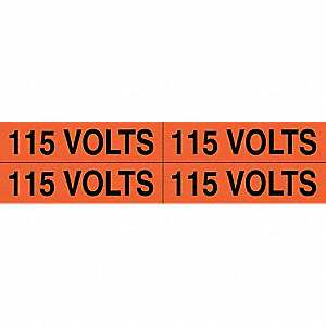 "Conduit and Voltage Markers, Markers per Card: 4, 4-1/2"" x 1-1/8"", 115 Volts Legend"