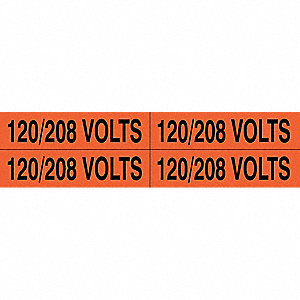 "Conduit and Voltage Markers, Markers per Card: 4, 4-1/2"" x 1-1/8"", 120/208 Volts Legend"