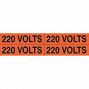 "Conduit and Voltage Markers, Markers per Card: 4, 4-1/2"" x 1-1/8"", 220 Volts Legend"