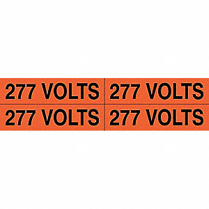 "Conduit and Voltage Markers, Markers per Card: 4, 4-1/2"" x 1-1/8"", 277 Volts Legend"