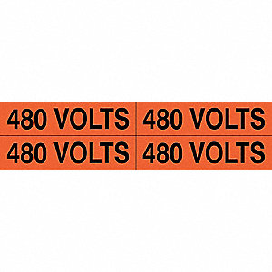 "Conduit and Voltage Markers, Markers per Card: 4, 4-1/2"" x 1-1/8"", 480 Volts Legend"