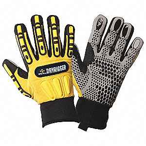 Impact Gloves, Nitrile, PVC Palm Material, Black, Hi-Visibility Yellow, PR 1