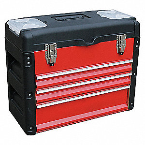 TOOL BOX,3000 CU. IN.,3 DRAWERS,RED