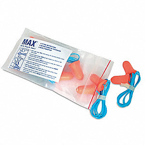 33dB Disposable Bell-Shape Ear Plugs; Corded, Coral, Universal