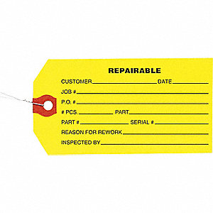 INSPECTION TAG,PAPER,REPAIRABLE,PK1