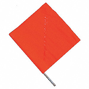 HANDHELD WARNING FLAG,ORANGE,18X18I