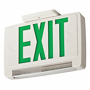 1 or 2 Face LED Exit Sign with Emergency Lights, White Plastic Housing, Green Letter Color