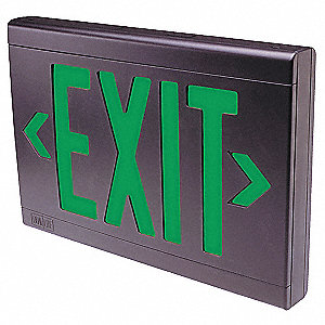 1 or 2 Face LED Exit Sign, Black Plastic Housing, Red Letter Color