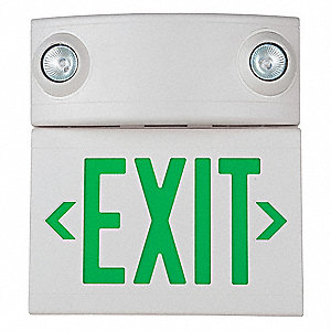 1 or 2 Face LED Exit Sign with Emergency Lights White Plastic Housing Green  sc 1 st  Grainger & HUBBELL LIGHTING - DUAL-LITE 1 or 2 Face LED Exit Sign with ...