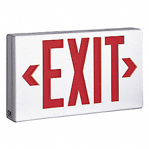 LED Exit Sign with Battery Backup, White Housing Color, Plastic Housing Material