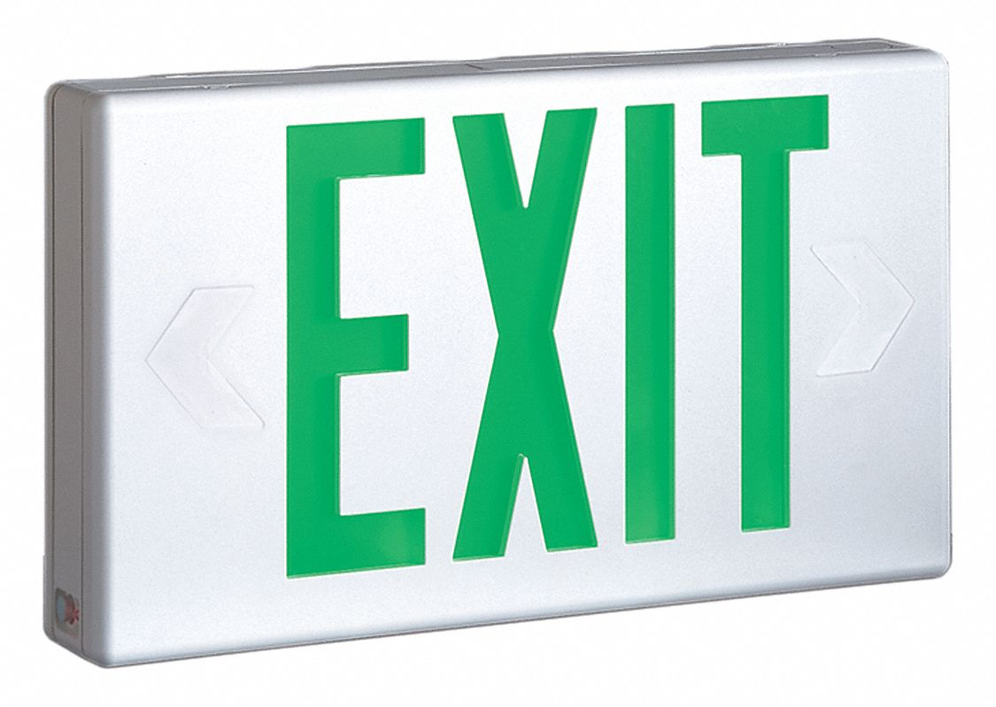 Number of Faces 1 or 2,  LED,  Exit Sign,  White,  Plastic,  Letter Color Red