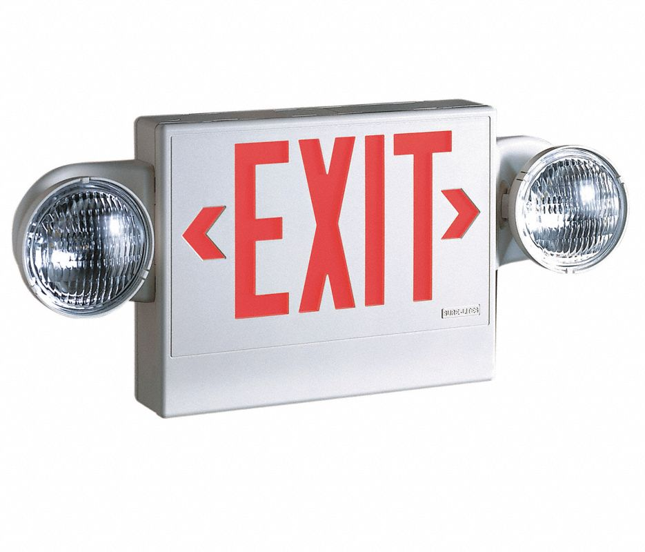 Exit Sign w/Emergency Lights,5.4W,Red