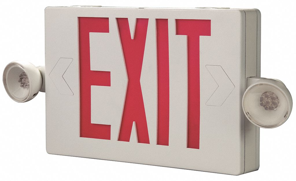 Number of Faces 1 or 2,  LED,  Exit Sign with Emergency Lights,  White,  Plastic,  Letter Color Red