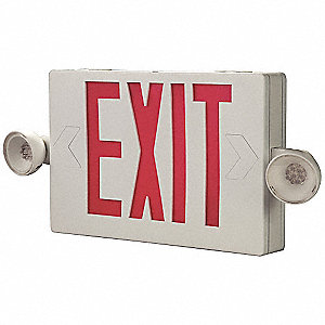1 or 2 Face LED Exit Sign with Emergency Lights, White Plastic Housing, Red Letter Color