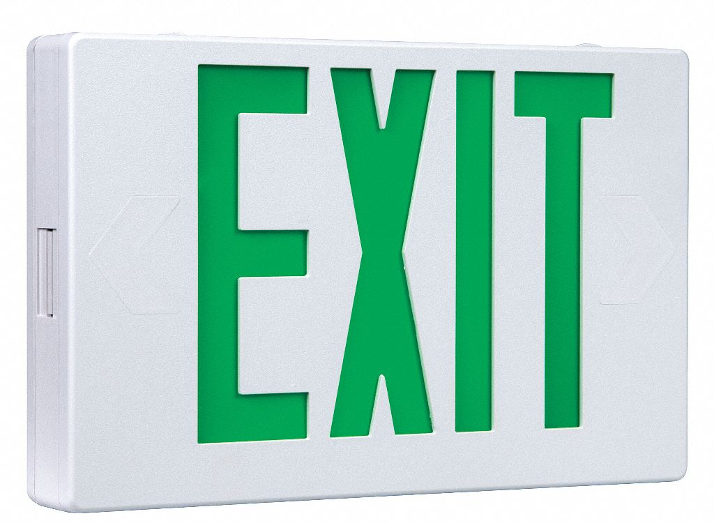 Number of Faces 1 or 2,  LED,  Exit Sign,  White,  Plastic,  Letter Color Green