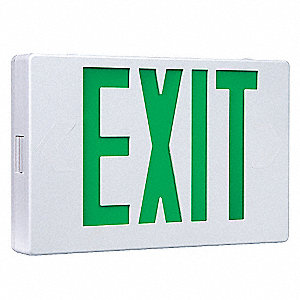 1 or 2 Face LED Exit Sign, White Plastic Housing, Green Letter Color