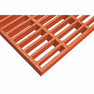 Orange Molded Grating, Vi-Corr Resin Type, 3 ft. Span, Grit-Top Surface