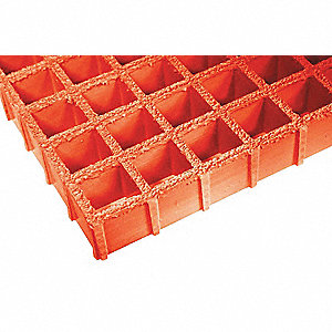Orange Molded Grating, Vi-Corr Resin Type, 8 ft. Span, Grit-Top Surface