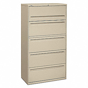 "36"" x 19-1/4"" x 67"" 5-Drawer Brigade 700 Series File Cabinet, Putty"