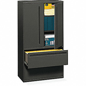 "36"" x 19-1/4"" x 67"" 2-Drawer Brigade 700 Series File Cabinet, Charcoal"