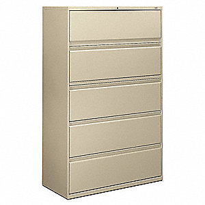"42"" x 19-1/4"" x 67"" 5-Drawer Brigade 800 Series File Cabinet, Putty"