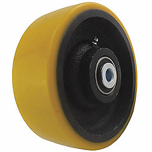 "6"" Caster Wheel, 2000 lb. Load Rating, Wheel Width 2"", Polyurethane, Fits Axle Dia. 1/2"""