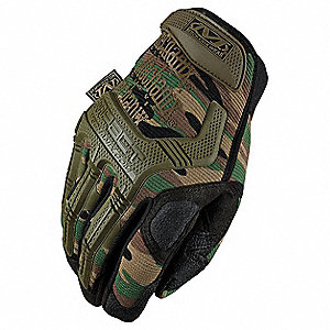 Anti-Vibration Gloves, Synthetic Leather/Poron Palm Material, Camo, L, PR 1